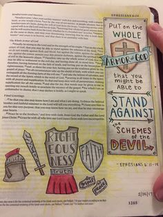 Bible Journaling, Ephesians 6:11-17 (Armor of God). Micron pen and colored pencil.