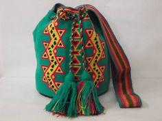 Green Wayuu Mochila Bag - Green Boho tote - Vert Sac Ethnique-  ショルダーバッグ グリーン