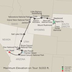 Parks & Canyons Spectacular map