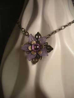 Vintage Style Purple Lucite Flower Necklace by TwinFlameDesigns on Etsy, $12.99. Perfect for spring, custom colors available.