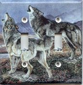 Wolf Wolves Double Light Switchplate Cover