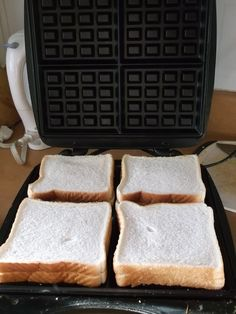 Easy dinner:: fill toast bread with something (salami, cheese, tuna, potatoes...) put into the waffle maker/iron and leave about 3min or so. Serve.