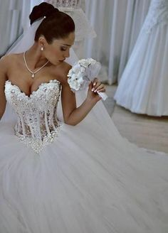 Vestidos De Noiva White Strapless Romantic Wedding Dresses Ball Gown Pearls Bridal Gowns Lace Up Back Tulle China Women, Men and Kids Outfit Ideas on our website at 7ootd.com #ootd #7ootd