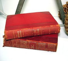 Antique Red Books leather bound Vintage London by OceansideCastle, $16.00