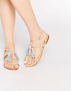 Shop Glamorous Sand Multi Tassel Flat Sandals at ASOS.
