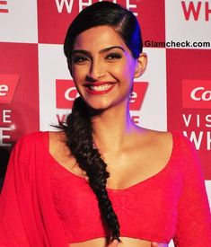 Bollywood actress Sonam Kapoor Sporting Fishtail Braid