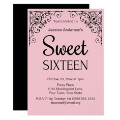 #Parisian Boutique Pink Black Sweet Sixteen Card - #birthday #invitations
