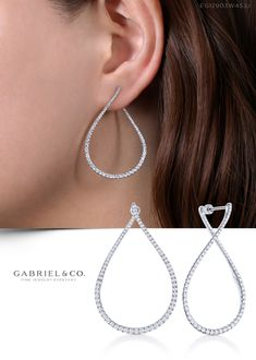 pear shaped diamond hoop earrings are a fresh take on a timeless style. Set with of brilliant round pavé diamonds, these unique front facing hoops curve gently from the front to the back of the ear. These white gold hoop earrings exude a refined elegance. Geode Jewelry, Ear Jewelry, Copper Jewelry, Crystal Jewelry, Crystal Earrings, Wedding Jewelry, Jewelry Gifts, Silver Earrings, Wedding Rings