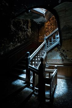 """ianference: """" This is the ground-floor landing of the grand floating staircase in the Worcester State Hospital clock tower. This shot was an incredibly tough nut to crack; during the blue hour, it would have required a 45-minute exposure, effectively..."""