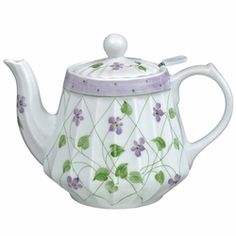Andrea by Sadek, Ribbled violet Teapot, with Mesh Strainer.  * 5.75
