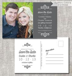 DIY Printable PDF and JPEG Engagement Photo Save the Date Postcard Announcement Cards by PaperworkEnvy on Etsy, $24.95 - Gray & White - Custom Colors Available