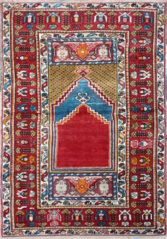 MUCUR prayer rug, early 20th century.  With two (stacked) prayer niches.  160 x 101 cm.