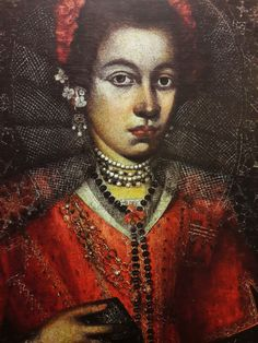 Detail of Lady in waiting of Queen Constance of Austria by Anonymous from Poland, 1610s (PD-art/old), Muzeum Narodowe w Warszawie (MNW), the sitter was dressed according to Spanish/Italian fashion, possibly a portrait of Urszula Meyerin, powerful mistress of Sigismund III Vasa
