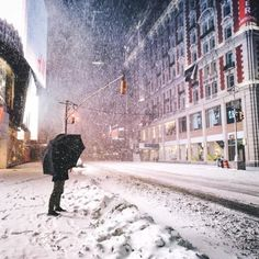 Times Square, New York City in a blizzard… (at New York,...