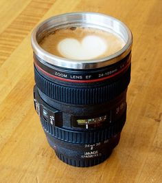 Black Camera Lens Stainless Steel Coffee Mug - Save 65% only $14