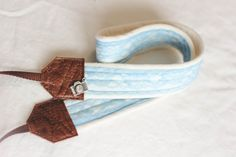 Studio Love Camera Strap: Blue Belle by BebeKstudio on Etsy brown leather ends professional photography accessory