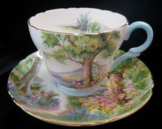 Shelley Woodland- Demitasse in the Henley shape   1945-1950  (There is a detail picture of the saucer in this folder. One of my favorite Shelley patterns!)