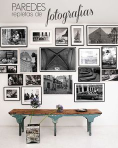 A wall of photos. I so want to do this with all of my travel photos!