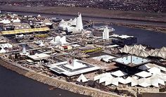 Expo 67 - Aerial Photographs of Isle Notre Dame Expo 67 Montreal, Old Montreal, Niagara Falls Pictures, Canada 150, Quebec City, World's Fair, Landscape Photos, Aerial View, Old Photos