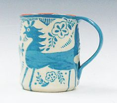 Sgraffito FANTASY TURQUOISE Animal HORSE on Mug by TheClayBungalow