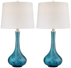 Morgan Blue Art Glass Table Lamp Set of 2 - #14X84 | Lamps Plus