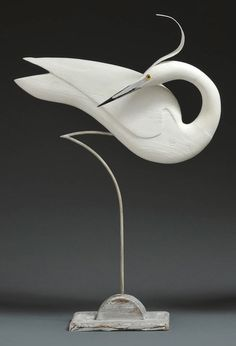 'Preening Egret' by Stephen Henderson - part of FAUNA 2015 at gallerytop opening on 9 May