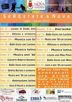 Iniziative del mese di luglio e agosto 2016 a Nova Milanese