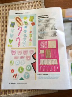 Make your own stamps from FamilyFun magazine. Great idea!