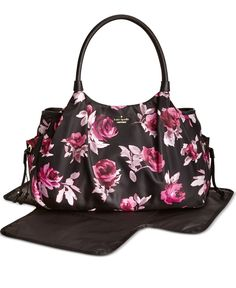 Romantic roses cover a lightweight and simple-to-clean diaper bag from kate spade new york, beautifully arranged with essential pockets, bottle compartments and an easy-pack changing pad. A pretty pic