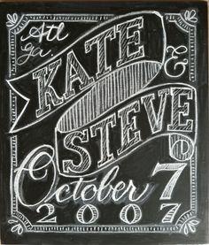 In Progress Chalkboard Wedding Sign - katesmithletters.com