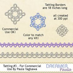 Dreamer Paula Resources: Tatting Trims - Sets 1, 2, 3, & 4! (I will have to check this out!)