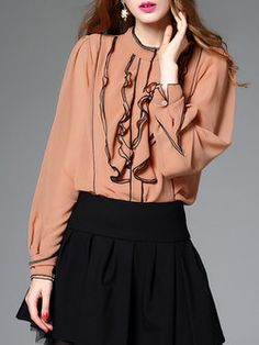 Orange Stand Collar Ruffled Elegant Long Sleeve Blouse With Camis