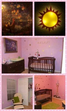 Our baby's nursery! Rapunzel themed. (TOP LEFT: Rapunzel/Tangled painting from ebay TOP RIGHT: Sun light from Ikea MIDDLE: Crib from walmart.com, mobile from amazon.com, tangled sun decals from etsy.com, changing pad and cover from baby's r us, wood letters and gold spray paint from Michaels. BOTTOM LEFT: Chair from Walmart, pillow from Target. BOTTOM RIGHT: Tower wall decal from Ebay.com, green rug from Target.)