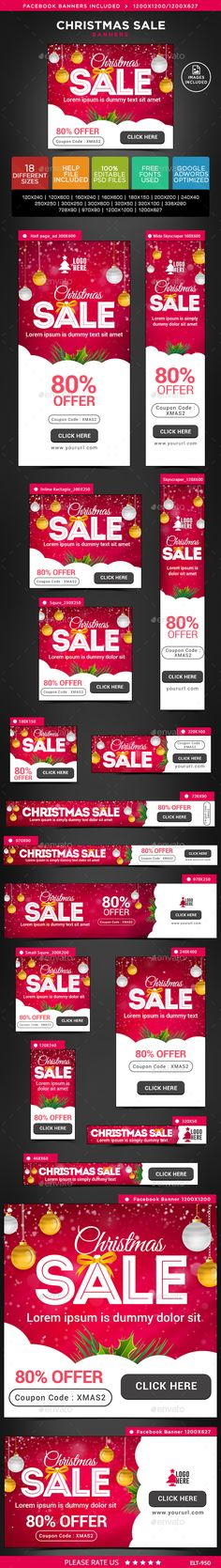 Christmas Sale Web Banners Template PSD #design Download…