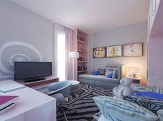 Раздельные кровати, рабочий стол в комнате для двух девочек