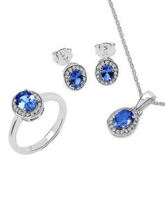 Loving this Tanzanite & White Topaz Oval Necklace, Earrings & Ring Set on #zulily! #zulilyfinds