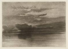joseph mallord william turner - study of sea and sky, circa 1825, intaglio print on paper.