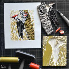 Woodpecker : Original Block Print by Andrea Lauren via Andrea Lauren. Click on the image to see more!