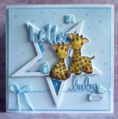 A Scrapjourney: Something New (SSS Challenge) Baby card using WPlus9 Party Animals, MFT Stitched Star Dies