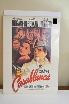 Vintage Casablanca Movie Poster 1970 M O55 Litho USA Portal Publications Bogart