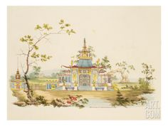 Design for a Chinese Temple, C.1810 (Pen and Ink and W/C on Paper) Giclee Print by G. Landi at Art.com