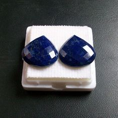 24x24x3.5 mm heart natural genuine BLUE LAPIS LAZULI by GEMSDEAL, $18.99