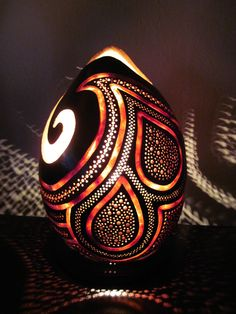 This table lamp measures 12 high by 9 inches wide. It is hand carved out of a… Gourd Lamp, Create And Craft, Natural Brown, Pumpkin Decorating, Crafty Craft, Design Art, Lamp Design, Gourds, Fiber Art