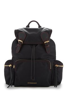 7192b6b7a6 Rucksack in Black and Parade Red Technical Nylon and Leather