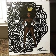Prissy Plum African American Art Black Art Print by MyJunkyTrunk Black Girl Art, Black Women Art, Art Afro Au Naturel, Black Art Tattoo, Tattoo Art, Natural Hair Art, Art Projects For Teens, Human Figure Drawing, Black Artwork