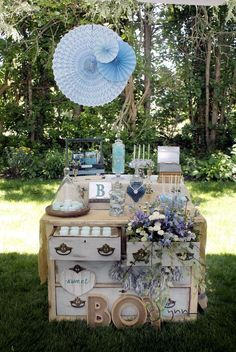 Blue shabby chic baby shower! See more party ideas at CatchMyParty.com!