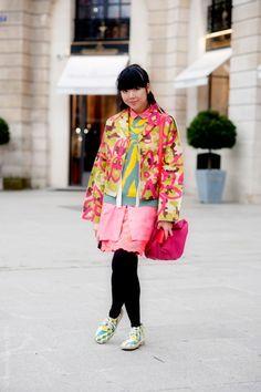 Susei in Comme des Garçons jacket, Kenzo sweater and Simone Rocha skirt.