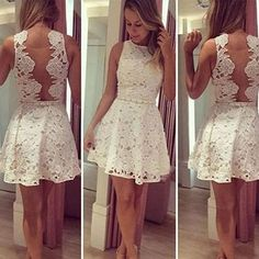 Short white lace simple see through mini cute homecoming prom dress The short white lace homecoming dresses are fully lined, 8 bones in the bodice, chest pad in the bust, lace up back or zipper back are all available, total 126 colors are available This dress could be custom made, there are no extra cost to do custom size and color. Description 1, Material:lace, elastic silk like stain. 2, Color: picture color or other colors, there are 126 colors are available, please contact us for more...