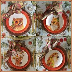 Panoply: Fall Garden Harvest Creatures Tablescape Thanksgiving Table Settings, Thanksgiving Parties, Fall Table Settings, Seasonal Decor, Fall Decor, Orange Plates, Autumn Table, Red Cottage, Rustic Colors