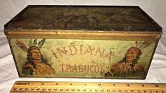 ANTIQUE INDIANA TRABUCOS TIN LITHO CIGAR BOX VINTAGE TOBACCO WILD WEST INDIAN
